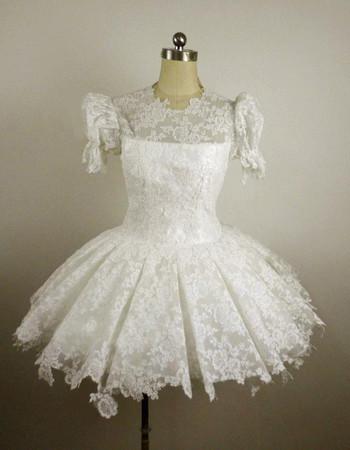 Cheap Vintage Lace Bubble Sleeves A-Line Short Reception Wedding Dress