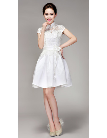 Chic Mandarin Collar Lace A-Line Short Reception Wedding Dress