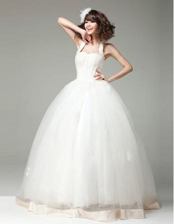 Amazing Classic Ball Gown Halter Floor Length Organza Wedding Dress