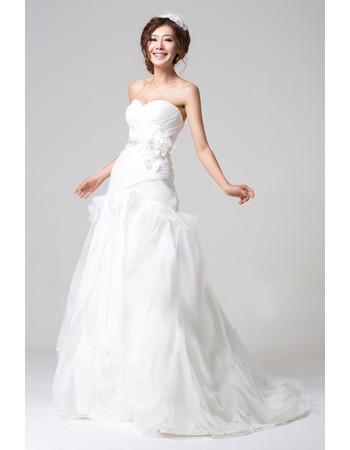 Designer Chic Organza Brush Train Sweetheart A-Line Wedding Dress