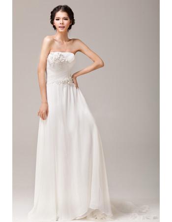 Beautiful Chiffon Sheath Strapless Sweep Train Bridal Dress for Wedding