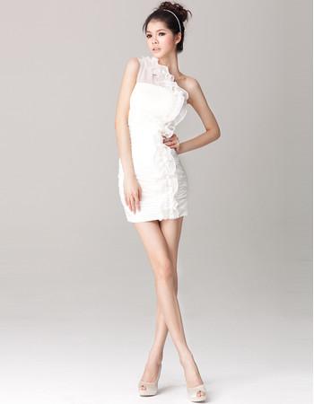 Affordable Charming One Shoulder Sheath Chiffon Short Beach Wedding Dress
