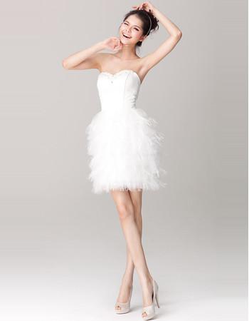 Amazing Chic Tiered Skirt Sweetheart Column Short Dress for Beach Wedding