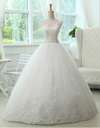 Cheap Classic A-Line V-Neck Floor Length Lace Organza Wedding Dress