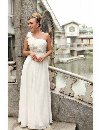 Affordable Modern One Shoulder Chiffon Floor Length Wedding Dress