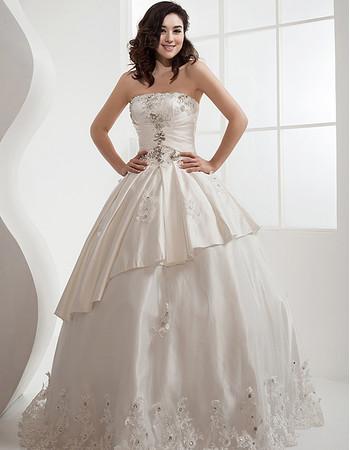 Cheap Classic Ball Gown Strapless Satin Floor Length Wedding Dress