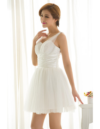 Inexpensive Amazing Straps Organza A-Line Short White Summer Beach Wedding Dress