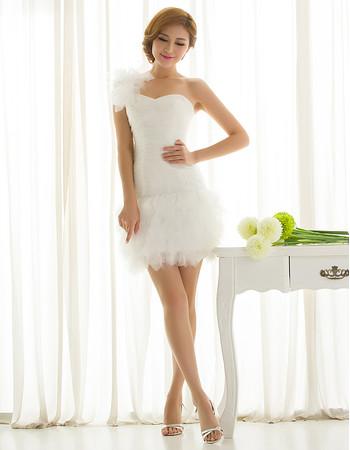 Charming Informal One Shoulder Sheath Organza Short Summer Beach Wedding Dress