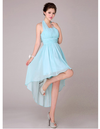 Beautiful Asymmetric High-Low Halter Chiffon Empire Bridesmaid Dress for Wedding Party