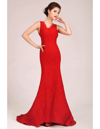 Affordable Mermaid/ Trumpet Lace Red Sweep Train Bridesmaid Dress for Girls
