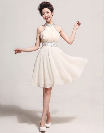 Pretty Designer Halter Chiffon Short A-Line Formal Cocktail Dress for Women