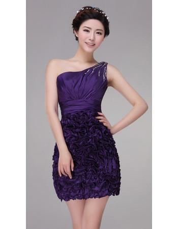 Designer One Shoulder Short Column/ Sheath Satin Cocktail Dress for Women