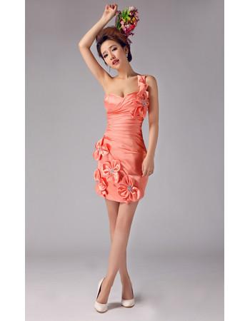 Custom One Shoulder Sheath/ Column Short Satin Cocktail Dress for Women