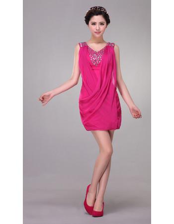 Beautiful Designer Column V-Neck Short Satin Chiffon Formal Cocktail Dress
