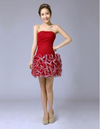 Discount Modern Column/ Sheath Bubble Skirt Strapless Short Cocktail Dress