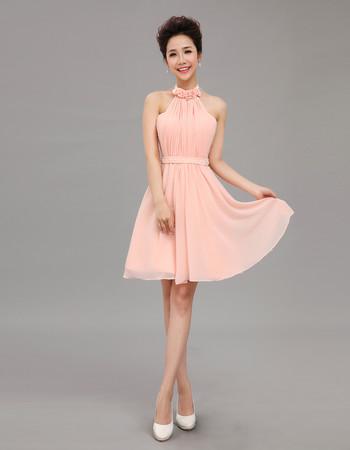 Beautiful Designer Halter Chiffon Short A-Line Cocktail Dress