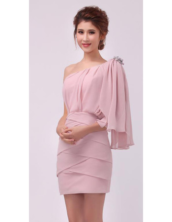 Inexpensive Beautiful Women's One Shoulder Chiffon Column Short Formal Dress for Cocktail Party