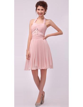 Women's Elegant and Beautiful A-Line Halter Chiffon Short Formal Cocktail Dress