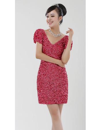Women's Beaded Short Sleeves V-Neck Short Column Formal Cocktail Dress