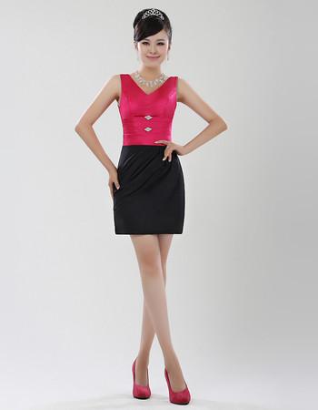 Women's Sheath/ Column V-Neck Short Satin Formal Cocktail Dress