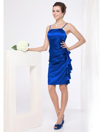 Women's Spaghetti Straps Sheath Short Satin Formal Cocktail Dress