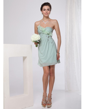 Women's Column/ Sheath Designer Short Chiffon Sweetheart Cocktail/ Bridesmaid Dress