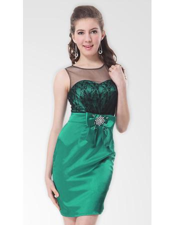 Affordable Modern Column/ Sheath Round/ Scoop Satin Short Formal Cocktail Dress
