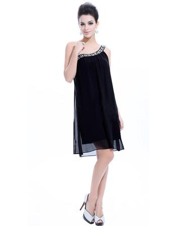 Affordable Cute One Shoulder Chiffon Sheath/ Column Short Formal Cocktail Dress