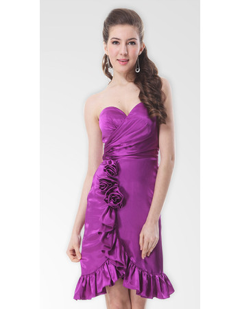Cheap Designer Mermaid/ Trumpet Sweetheart Short Satin Formal Cocktail Dress