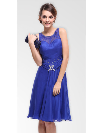 Affordable Modern Simple A-Line Chiffon Knee Length Formal Cocktail Dress for Women