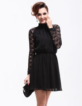 Modern Classy Long Lace Sleeves Short Sheath Chiffon Cocktail Dress for Women