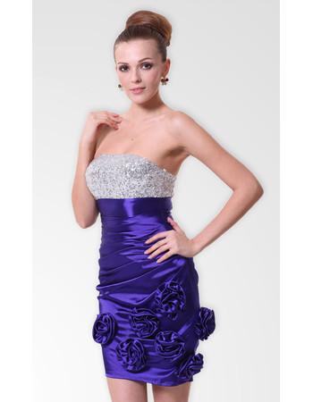 Affordable Modern Column/ Sheath Strapless Short Satin Beaded Formal Cocktail Dress