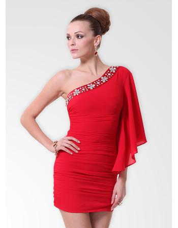 Affordable One Shoulder Chiffon Sheath/ Column Short Formal Dress for Cocktail Party