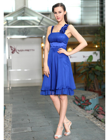 Designer Modern Straps Knee Length Chiffon A-Line Formal Cocktail Dress