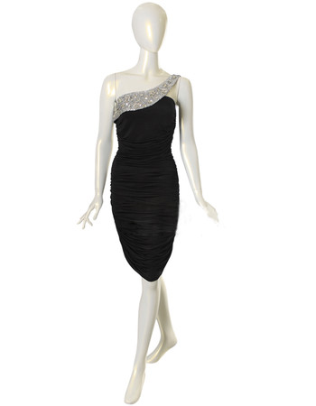 Custom Designer One Shoulder Black Chiffon Sheath/ Column Short Formal Cocktail Dress