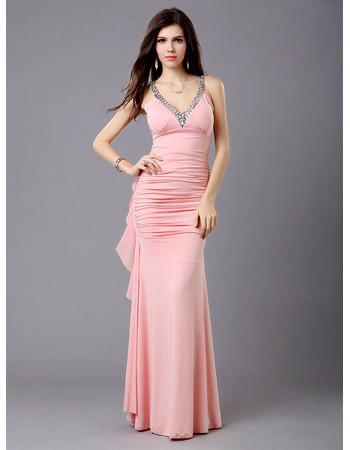 Sexy Sheath Chiffon V-Neck Floor Length Evening Prom Dress for Women and Girls