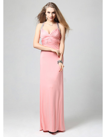 Affordable Sexy Sheath Halter Satin Floor Length Evening Dress for Women and Girls