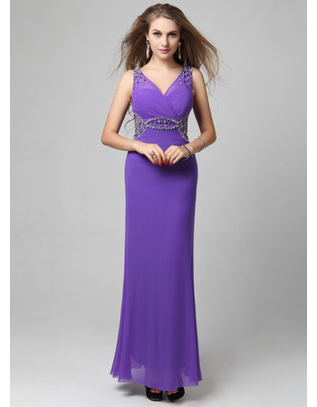 Beautiful Chiffon V-Neck Column/ Sheath Ankle Length Prom/ Evening Dress