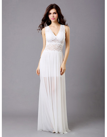 Chic Lace Chiffon V-Neck Sheath Floor Length Evening Dress for Women and Girls