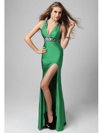 Sheath Halter Floor Length Satin Prom Evening Dress