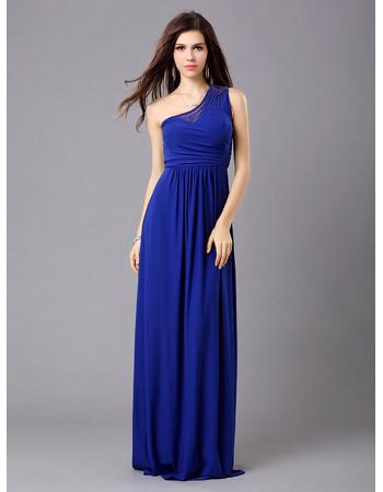 Affordable Elegant One Shoulder Chiffon Column Floor Length Evening Dress