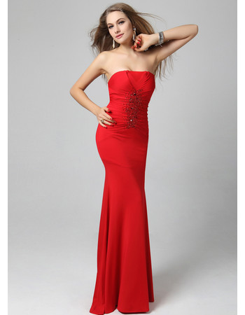 Affordable Sexy Mermaid Strapless Ankle Length Formal Evening Dress