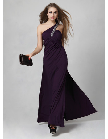 Sexy One Shoulder Satin Sheath/ Column Floor Length Prom Evening Dress