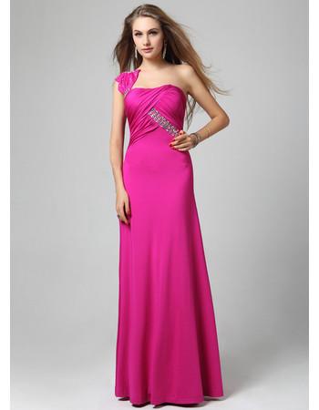Affordable Chic One Shoulder Sheath/ Column Floor Length Satin Evening Dress