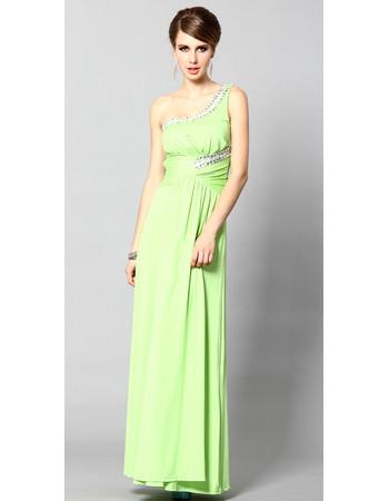 One Shoulder Sheath/ Column Ankle Length Satin Formal Evening Dress