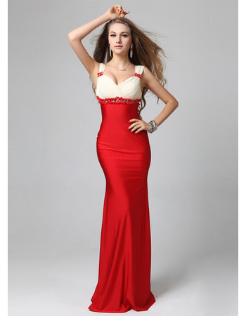Beautiful Chic Sheath/ Column Straps Floor Length Satin Prom Evening Dress for Women