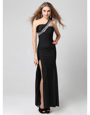 Beautiful One Shoulder Sheath Floor Length Black Formal Evening Dress For Women and Girls