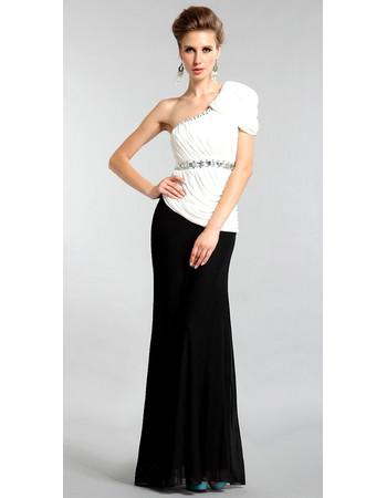 Inexpensive Elegant One Shoulder Mermaid Chiffon Floor Length Evening Dress for Women