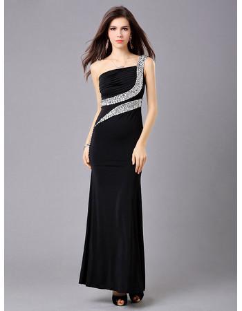 Inexpensive Elegant One Shoulder Sheath Satin Ankle Length Evening Dress for Prom