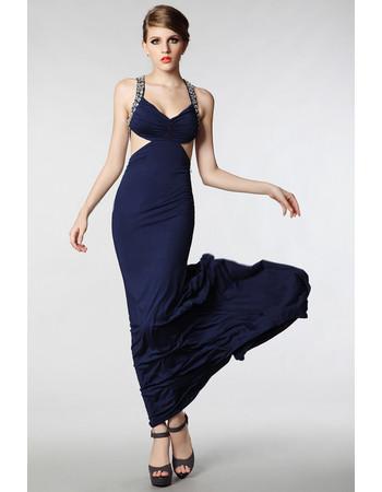 Women's Sexy Sheath Straps Satin Sweep Train Evening Dress for Prom